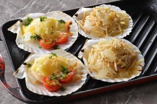 殻付ほたて貝のオーブン焼き 2種(洋風・和風)