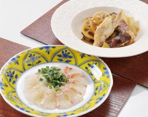 鯛の昆布〆、鯛茶漬け、鯛のあら炊き